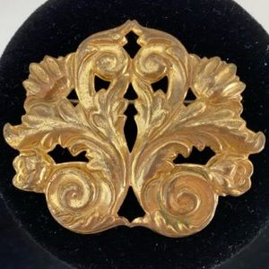 Vintage Mariam Haskell Repousse Signed Brooch